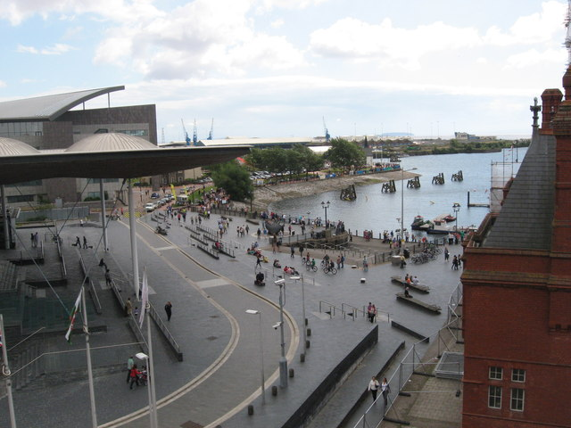 Looking towards Cardiff Bay, between the Senydd and the Pier Head Building