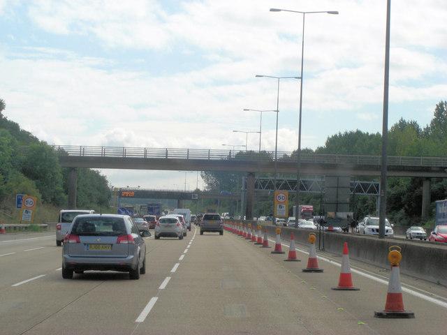 M25 footbridge at Goose Green