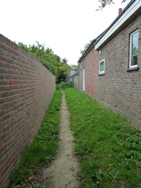 Midway on the path from Green Lane to School Lane