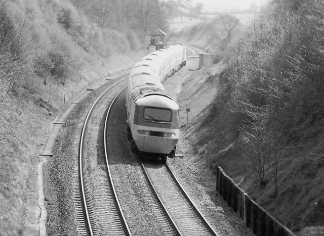 High Speed Train at Dunhampstead Crossing, 1984