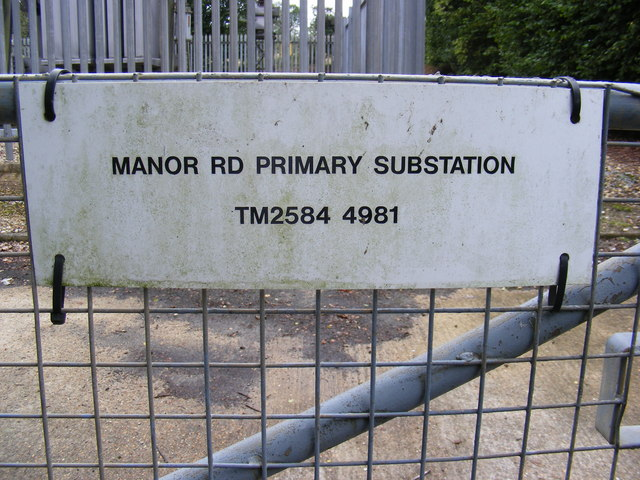 Electricity Primary Sub-Station sign on Manor Road