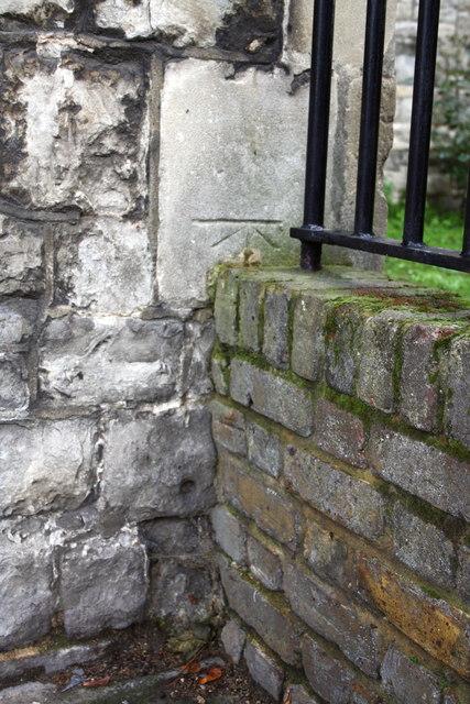 Benchmark on St Silas's Church, Penton Street