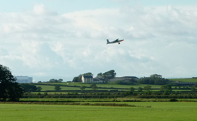 Parachutists' plane taking off from Cockerham Airfield