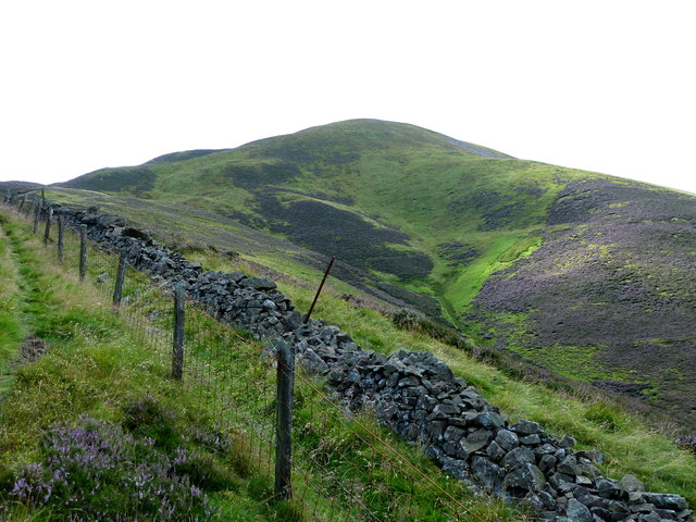Stone dyke, fence and path on slopes of Turnhouse Hill