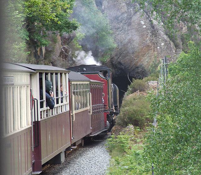 Welsh Highland train enters Aberglaslyn tunnels