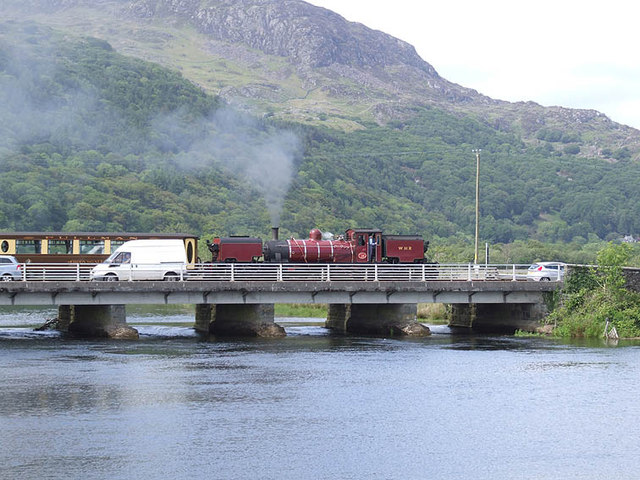 Railway and road cross the River Glaslyn