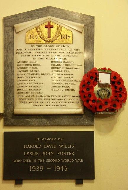 St Giles, Great Hallingbury - War Memorial