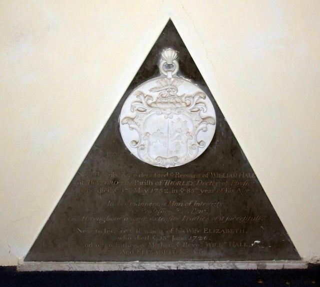 St Giles, Great Hallingbury - Wall monument