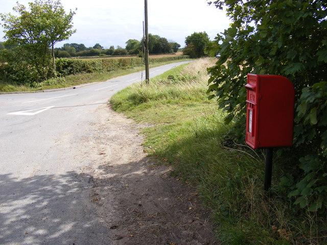 The road to Russel's Green & Barley Green Postbox