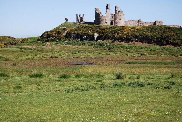 Marshland in front of Dunstanburgh Castle