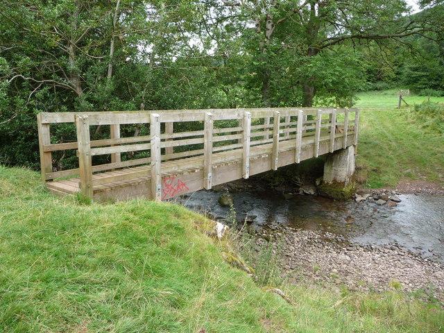 Wooden footbridge across the Afon Honddu