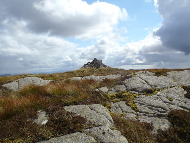 Summit cairn and trig point on Cairnsmore of Dee