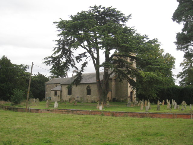 Cedar tree and the church of St. Peter and St. Paul, Kettlethorpe