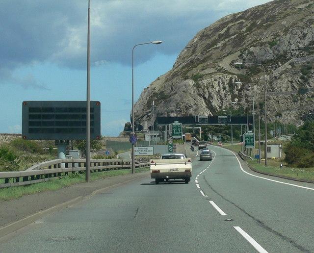 The A55 near the Penmaen-bach Tunnels