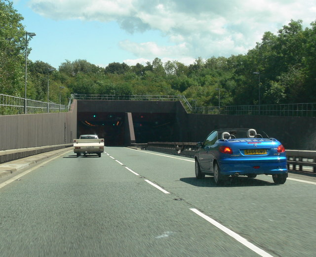 The Conwy Tunnel, eastwards along the A55