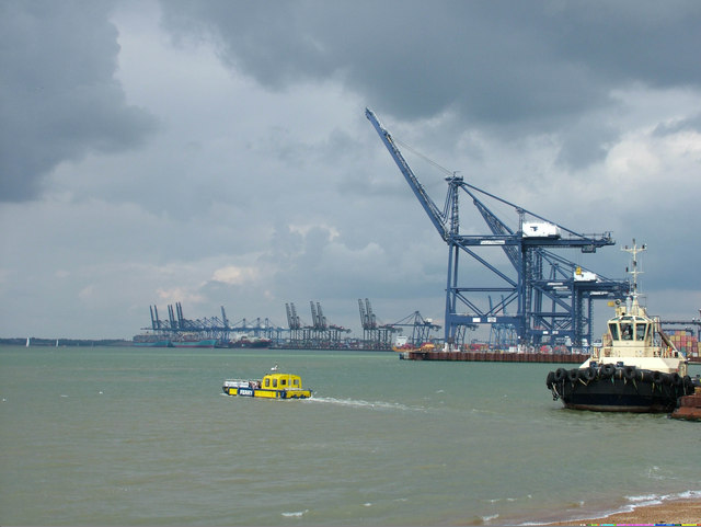 Felixstowe port with ferry