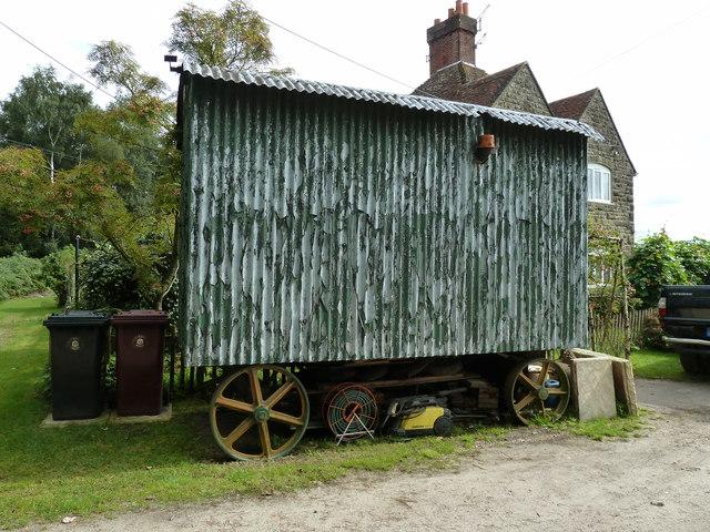 Disused agricultural workers caravan