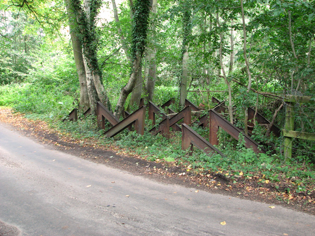 A group of hairpin tank traps beside the River Nar, Narford