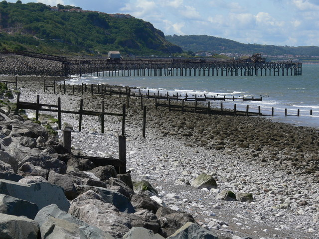 Groynes and jetties along Llanddulas beach
