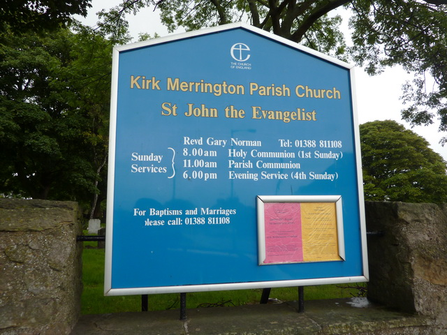 Kirk Merrington Parish Church, St John the Evangelist, Sign
