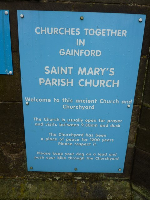 St Mary's Parish Church, Gainford, Sign