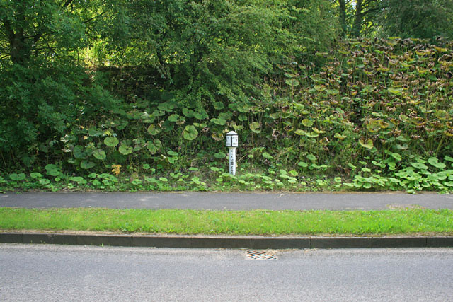 Milepost on the A523 in Waterhouses