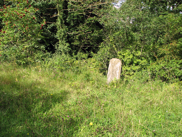 A weathered railway milestone beside the path, Narborough