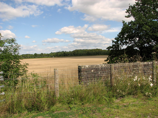 Harvested field beside the railway path, Narborough