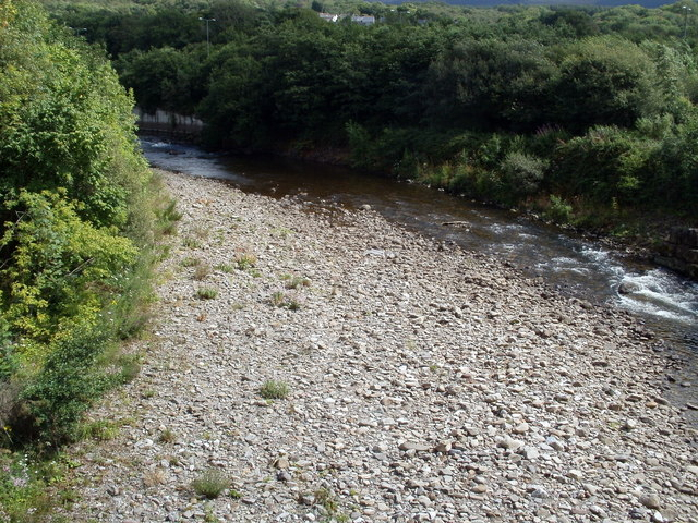 Shingly River Neath viewed from the B4242 near Glynneath