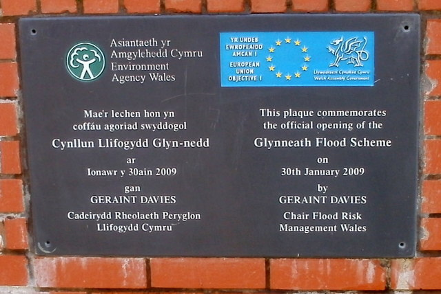 Glynneath Flood Prevention plaque