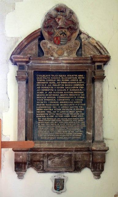 St Mary, Manuden - Wall monument