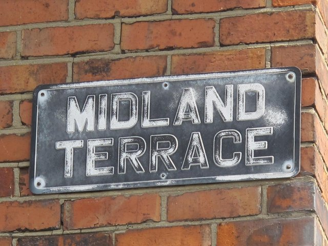 Old sign for Midland Terrace, NW2