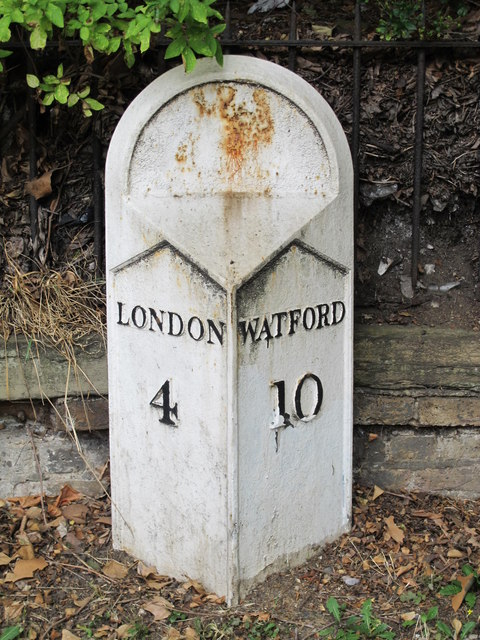 Old milestone, Cricklewood Broadway (A5), NW2