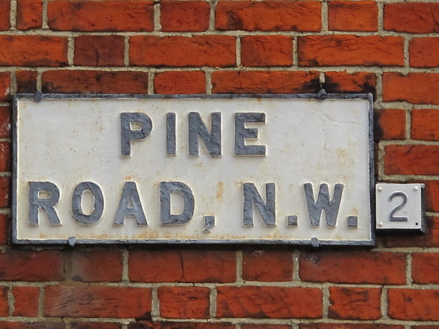 Sign for Pine Road, NW2