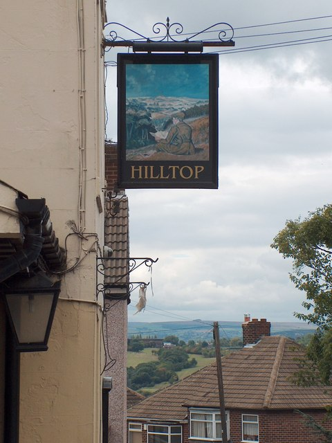 """The Hilltop""- pub sign with a view to the west"