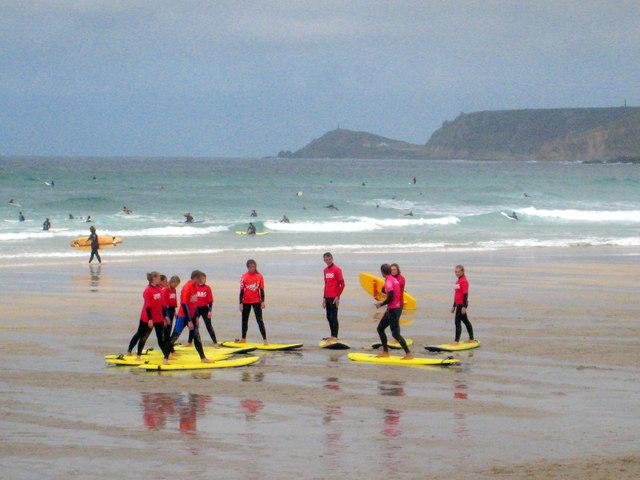 Surfing lesson on Sennen Beach