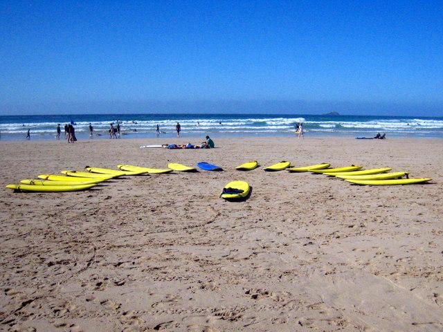 Surfboards on the beach at Sennen