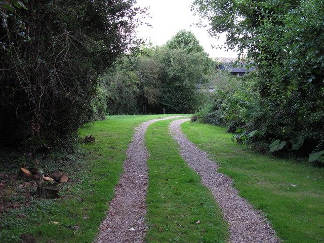 Footpath on track, near Colton Cottage