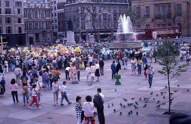 Tourists in Trafalgar Square (2)