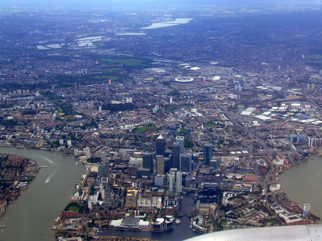 Canary Wharf and London Olympics site from the air