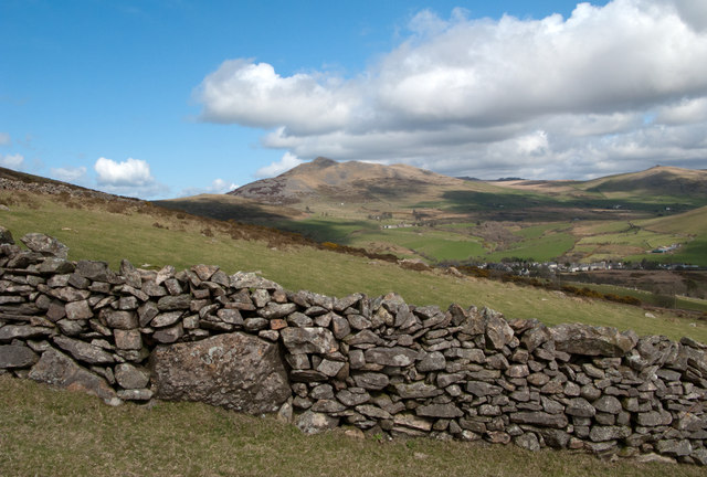 Dry stone wall with fields beside B4417
