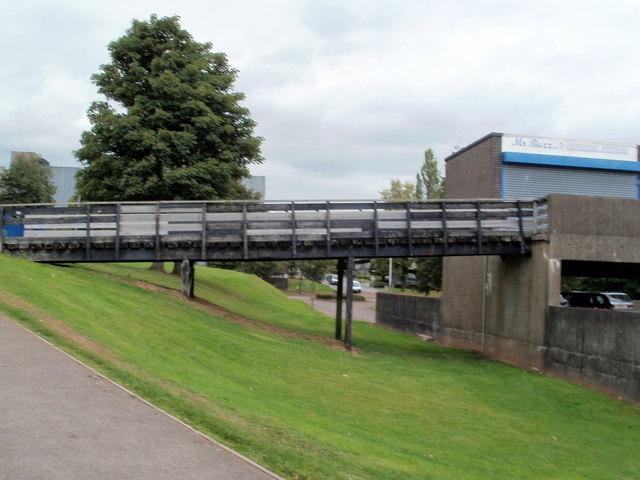 Wooden footbridge to The Tower Block, Cwmbran