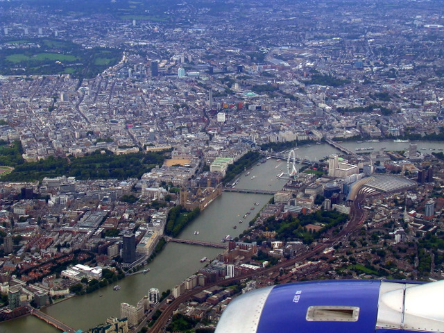 Westminster and the Thames from the air