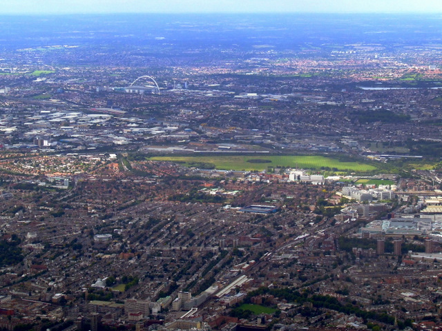 West London and Wembley Stadium from the air