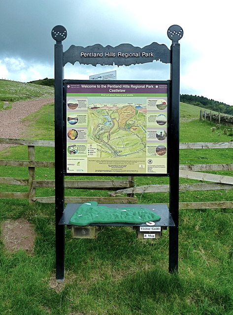 Unusually elaborate information board, Pentland Hills