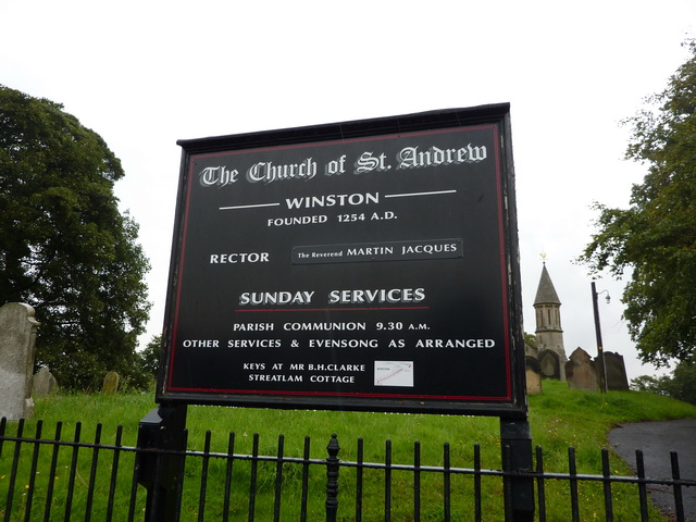 The Church of St Andrew, Winston, Sign