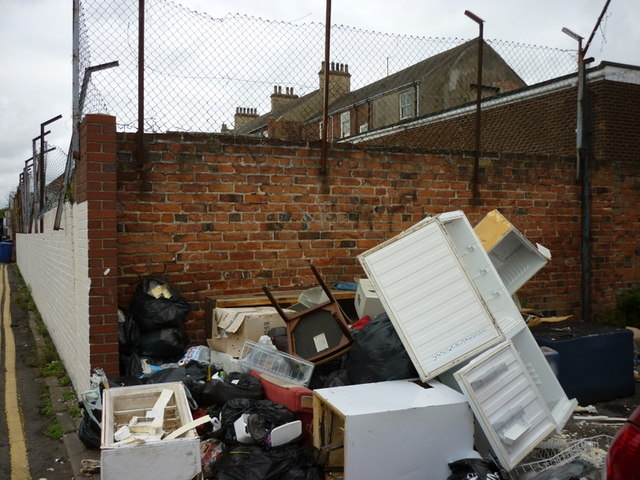 Fly tipping on Hudson Street, Hull