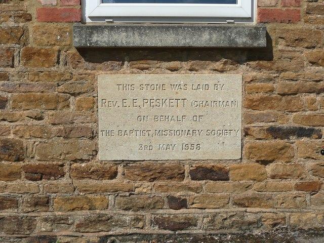 Foundation stone on Carey Baptist Church, Moulton