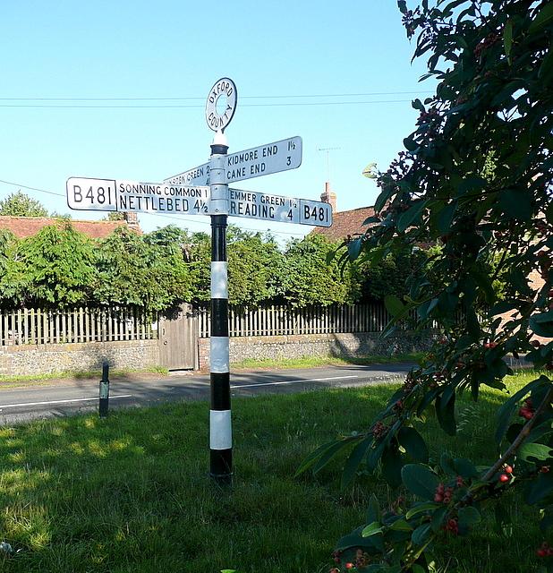 Signpost opposite Bird in Hand