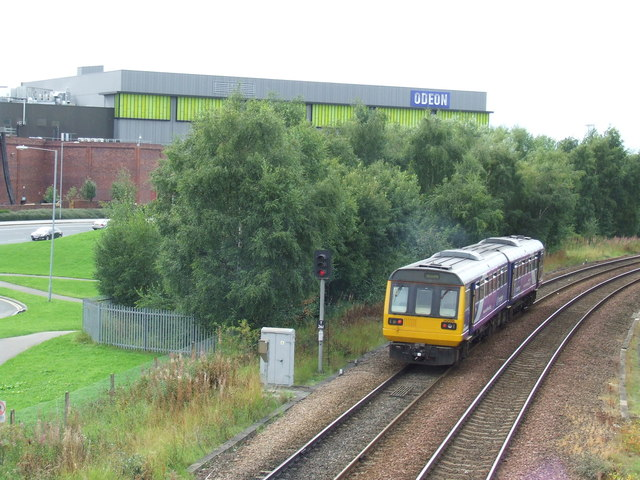 Train leaving Metrocentre station